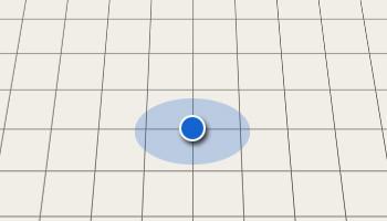 Blue dot on empty grid