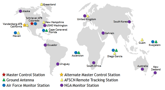 Gps control segment map showing the master control station at schriever afb colorado alternate master control station at gumiabroncs Image collections
